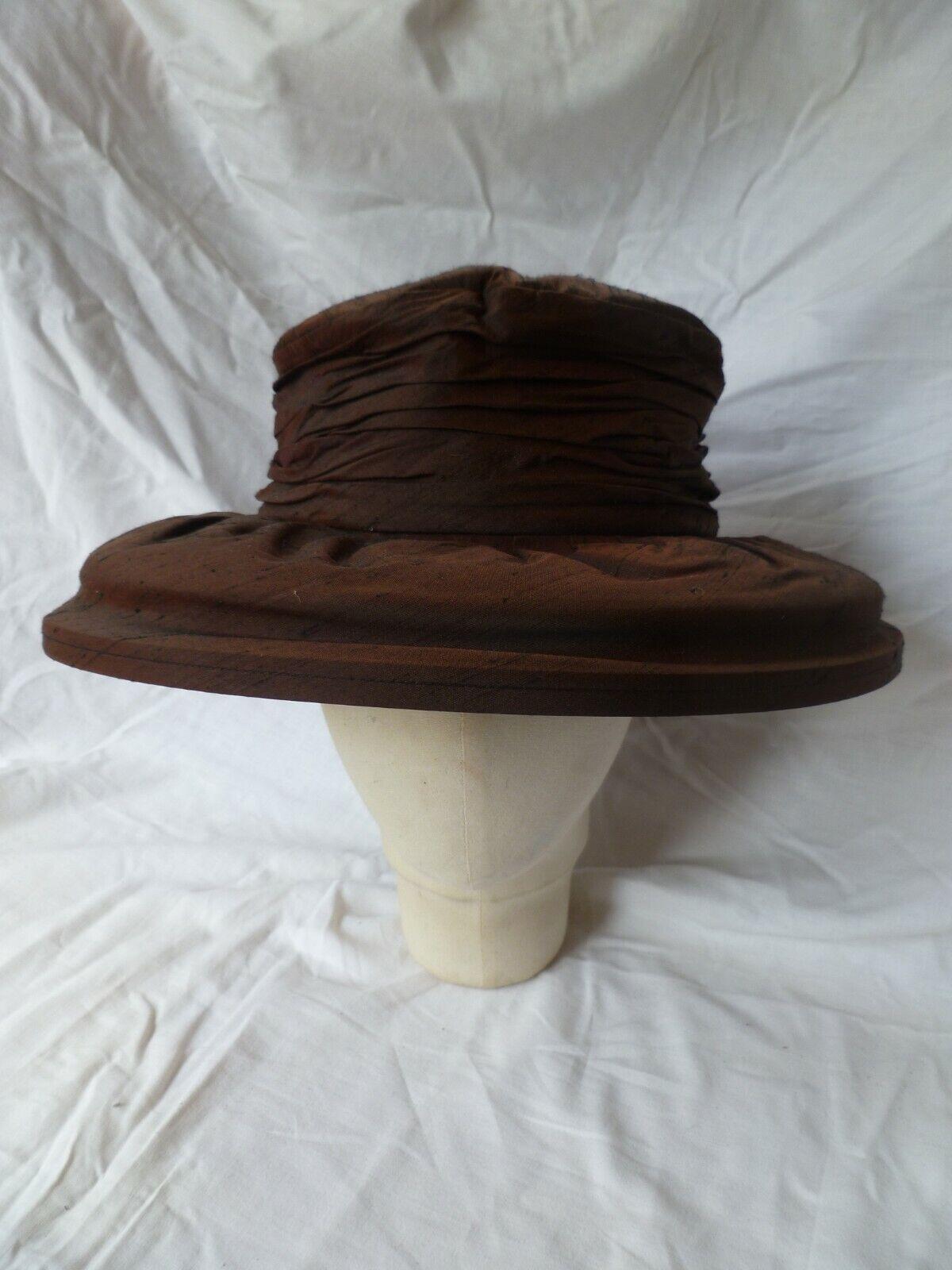 'Karen Davis' Brown Black Shot Silk Ruched Wide Brimmed Hat 57-58cms