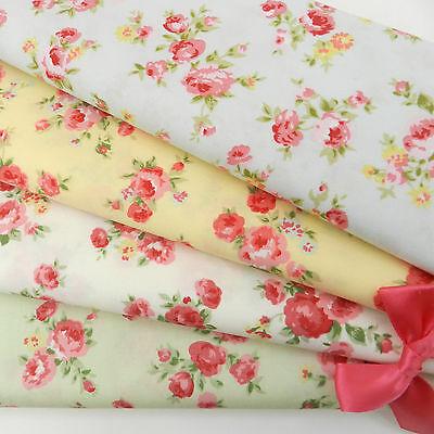 PER 1/2 Mt/ FQ  Rose bouquet pastel coloured fabric ivory green blue lemon