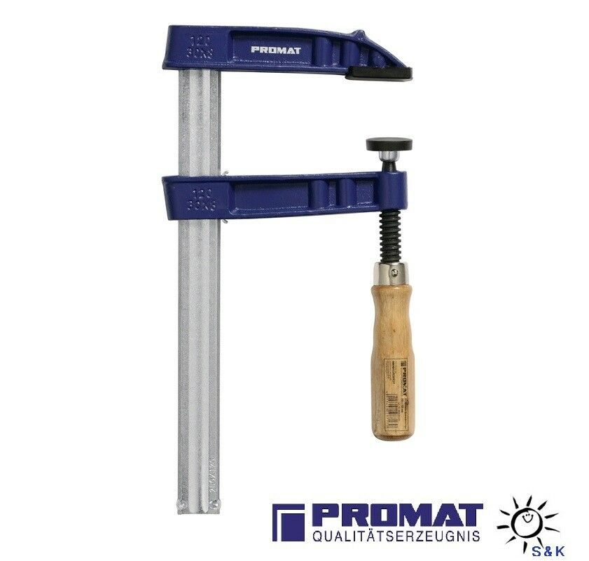 PROMAT Schraubzwinge Länge 2000mm Ausladung 120 mm Temperguß Stahl mit Holzheft