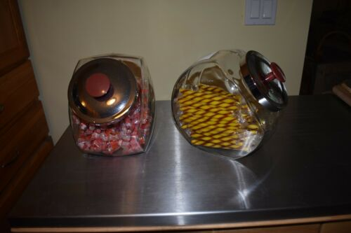 "VTG /""Angled Glass Candy Cookie Jar General Store Counter Display 9 availabl/"" VGC"