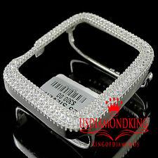 Real White Gold Sterling Silver Lab Diamond Apple Watch Case 42MM Sport Bezel
