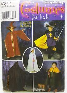 Kids-Wizard-Reaper-Knight-Costume-Hood-Cape-Tabard-Hat-Pattern-Size-3-4-5-6-7-8