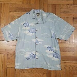 Vintage-TOMMY-BAHAMA-100-SILK-CAMP-SHIRT-Hawaiian-Baby-Blue-Floral-Men-039-s-M-Rare