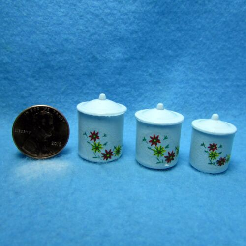 Dollhouse Miniature Canister Set with Floral Design ~ White Metal IM65383