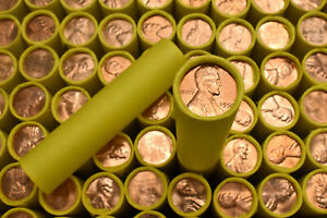 BU-Penny-Brilliant-Uncirculated-on-Old-Lincoln-Wheat-Cent-Roll-Vintage-Lot-Sale