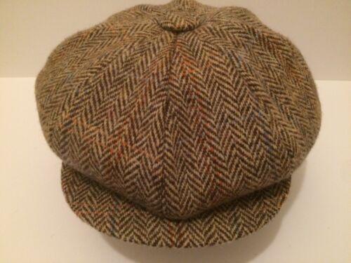 GREEN HERRINGBONE SCOTTISH HARRIS TWEED NEWSBOY GATSBY PEAKY BLINDERS CAP