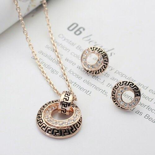 18k Gold Filled Solid Swarovski Crystal Vintage Pendant Necklace Earring Set