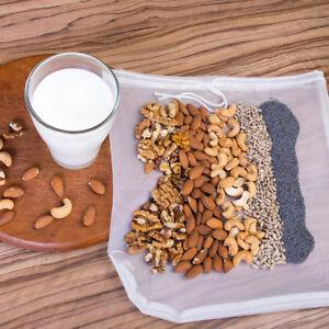 Large Drawstring Reusable Nut Milk Tea Fruit Juice Wine Mesh Strain Filter Bag