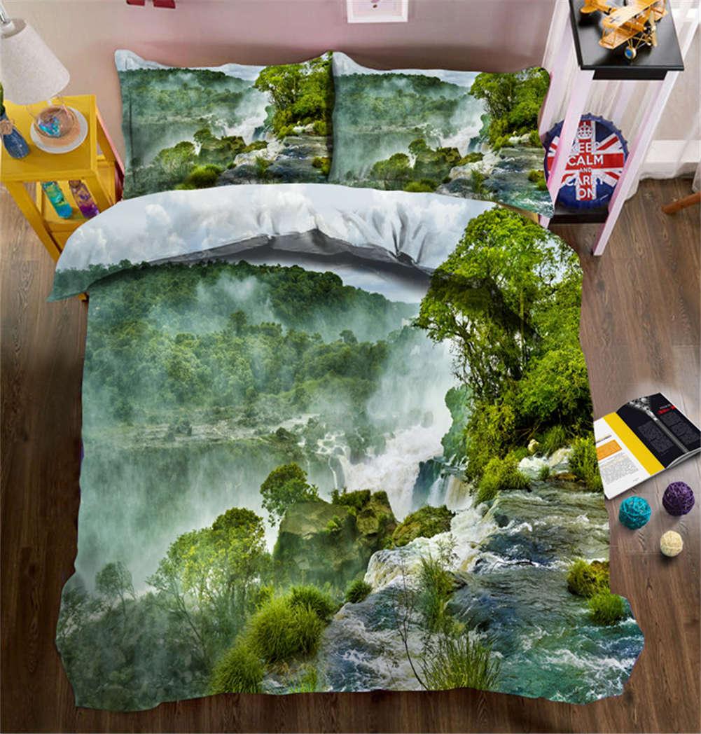 Dark Green Cloud 3D Printing Duvet Quilt Doona Covers Pillow Case Bedding Sets
