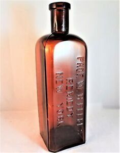 Antique-Prof-W-H-Peeke-039-s-Remedy-New-York-Amber-Glass-Bottle-8-1-8-034-Tall