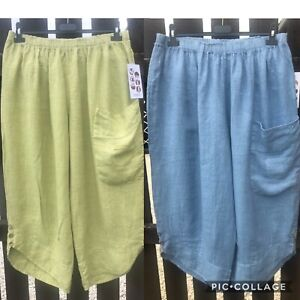 Plus-Size-Italian-Lagenlook-1-Pocket-Cropped-3-4-Baggy-Linen-Crop-Pants-Trousers