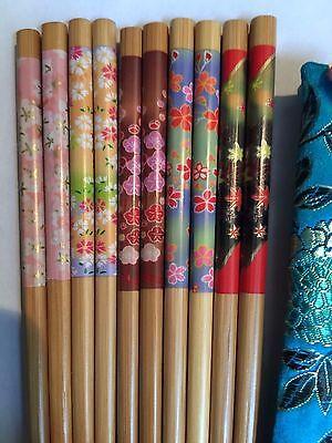 5 Pairs Mixed Chopsticks OR Hairsticks W Free Handmade Silk Holders #151 Bargain !