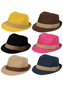 Straw-Trilby-Hat-Paper-Festival-Hessian-Lightweight-Coloured-Pink-Blue-Black-Sun