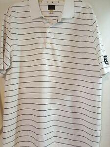 Greg-Norman-Shark-Play-Dry-Golf-Polo-Short-Sleeve-White-Stripe-Shirt-Men-039-s-XL
