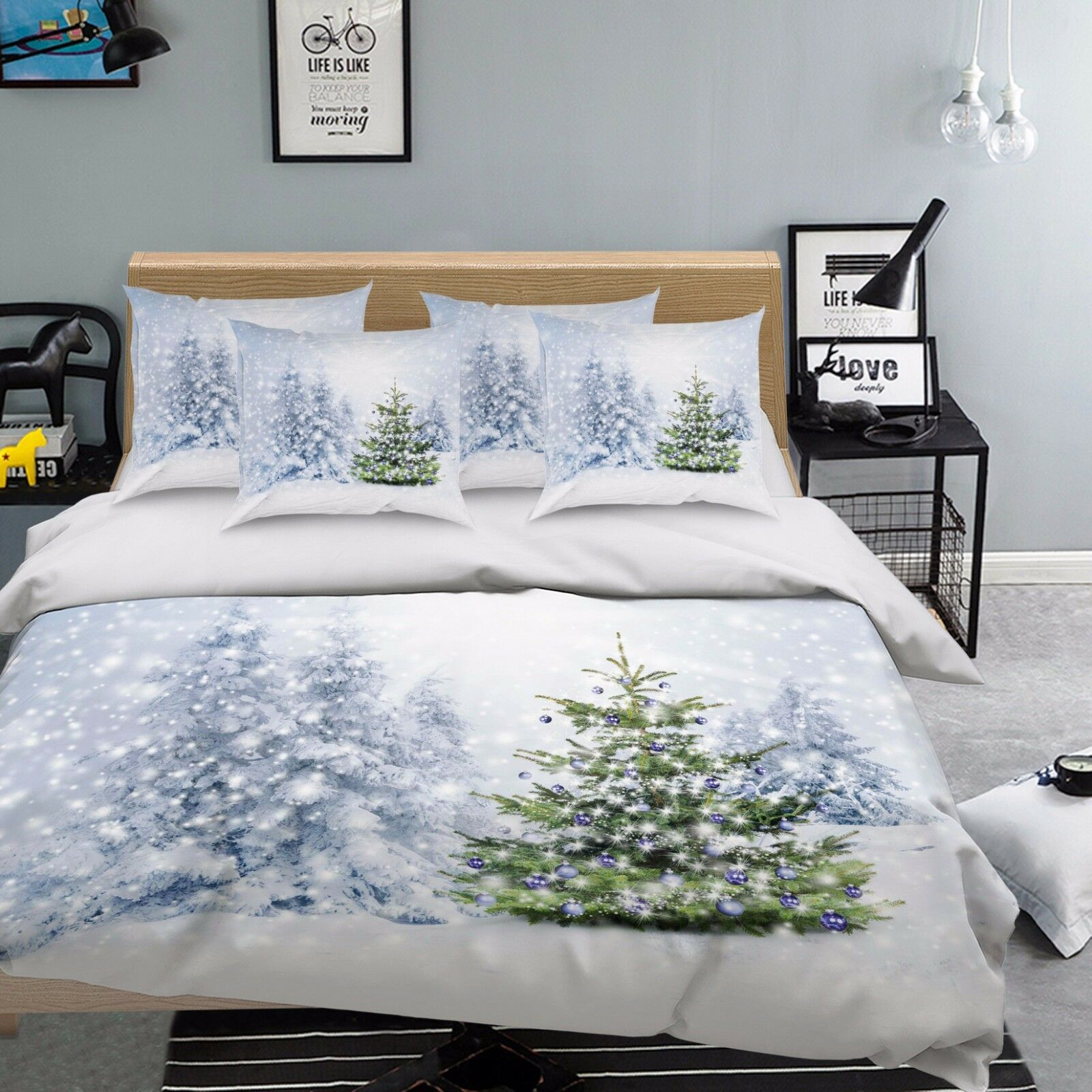 3D Snow Pine 86 Bed Pillowcases Quilt Duvet Cover Set Single Queen UK Carly