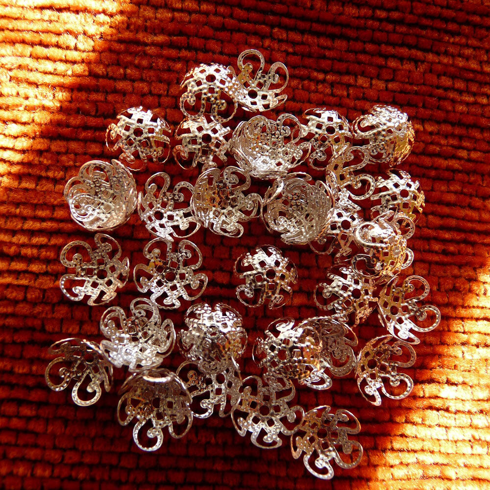40 Filigree Flower Bead Caps 10mm End Spacer Silver Gold Plated Beading Supplies Ebay