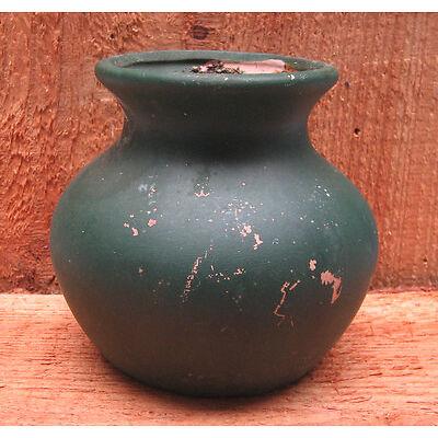 Tonvase für kreatives Gestalten o. DEKO grün rustikal im USED look shabby shic