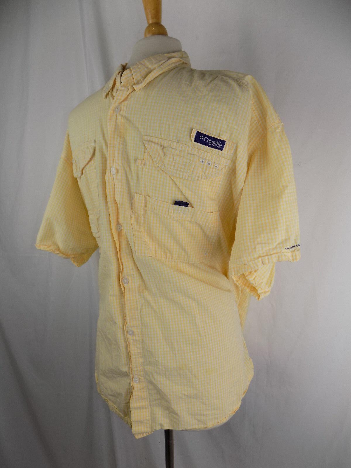 Columbia PFG Omnishade Men's Button Front S S Shirt XXL YELLOW White Plaid