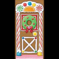 Holiday Gingerbread House Door Cover Poster Backdrop Christmas Candy Decoration
