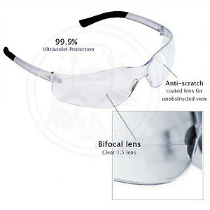 172e5daed2 3 Pack) Bifocal Safety Glasses Clear 1.5 Diopter Reader Safety ...