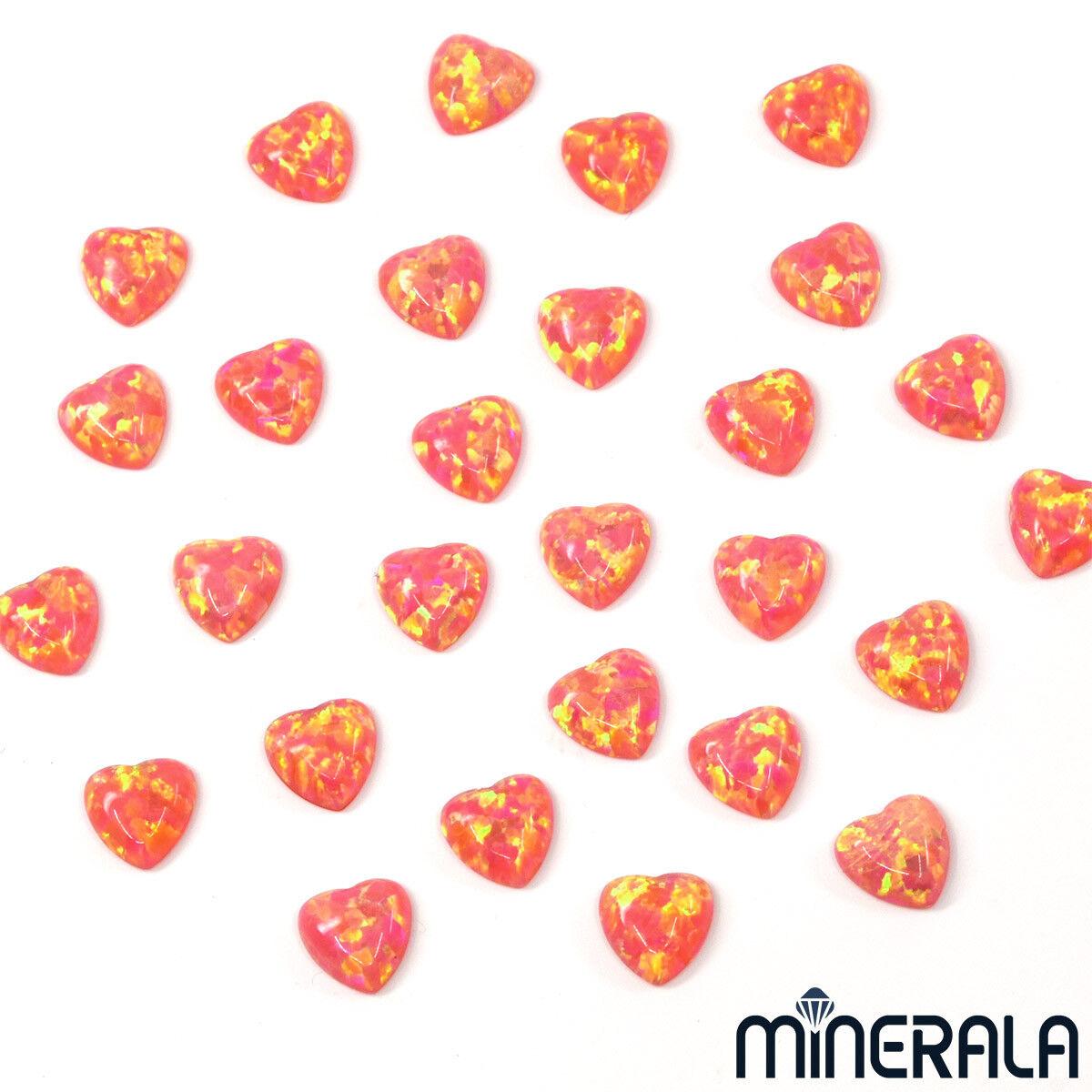 [Mayorista] Sintético Creado en Laboratorio Ópalo Rosa Coral Forma Corazón 6mm