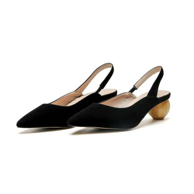 Womens Workwear Sandals Mid Strange Heel Pointed Pointed Pointed Toe Genuine Leather shoes US9 213700