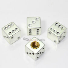 4 Chrome Silver Dice Tire/Wheel Stem Air Valve CAPS covers car truck hot rod ATV