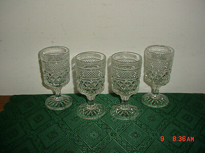 "4-PC ""WEXFORD"" ANCHOR HOCKING SMALL 5 1/4"" PEDESTAL WINE GOBLETS/FREE SHIP!"
