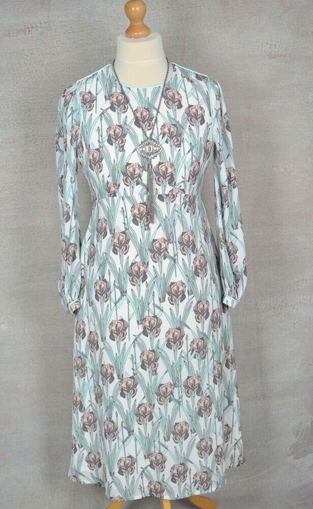 Bnwt £ 74.95 Darling London Imprimé Floral Fit & Flare Midi Tea Dress Uk 12
