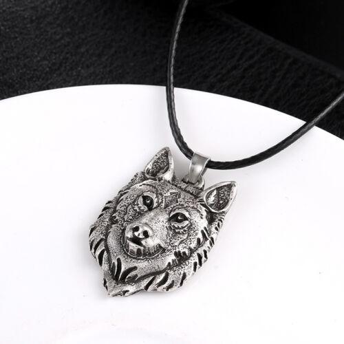 Cabeza De Lobo de Plata Tibetana Colgante Collar Amuleto animal Viking Hombres Joyería Nuevo ~