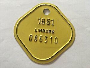 Vintage Belgian Bicycle License Plate 1981.