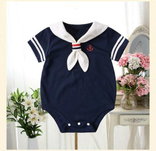 Boy Baby Rompers Summer Short Sleeve Sailor Baby Girls Boys Jumpsuit Clothes