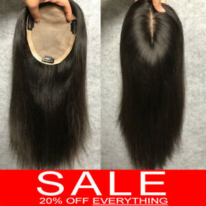 100-Virgin-Human-Hair-Mono-Silk-Base-Frontal-Topper-Hairpiece-Toupees-Wigs-P250
