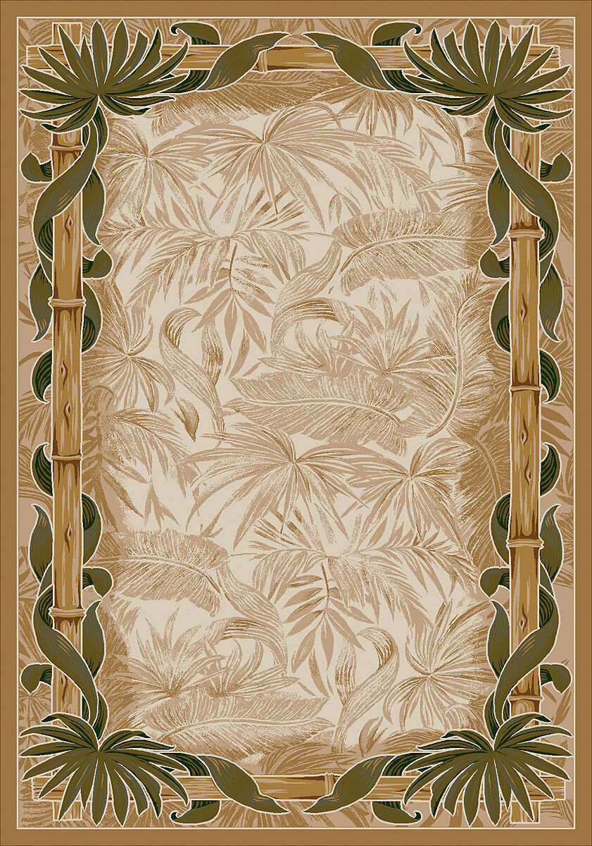 4x6 Milliken Montego Linen Tropical Palmetto Area Rug - Approx 3'10 x5'4