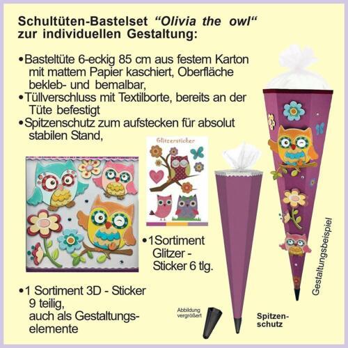 Olivia The Owl Eule 3D-SCHNELLBASTELTÜTE komplett mit SCHMUCK-Set