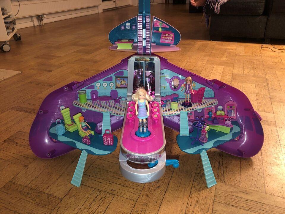 Polly Pocket, Flyvemaskine og krydstogt med tilbehør!!