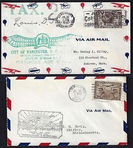 CANADA 1929 31 FOUR FIRST FLIGHT COVERS LONDON TORONTO VANCOUVER SASKATOON