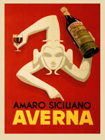 Amaro Siciliano Averna Red Wine Italy Italia Drink Vintage Poster Repro Free S/h