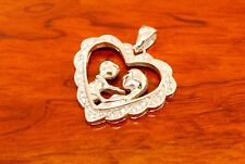 925 Sterling Silver Mom and Son Heart Pendant