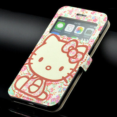 Cute Hello Kitty Flower Leather Case Wallet Folio Card Slot For iPhone Samsung