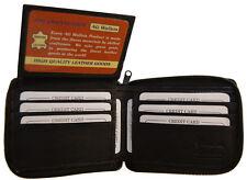 Mens Leather Zip Around Wallet Organizer ID Flap Credit Card Bifold Black