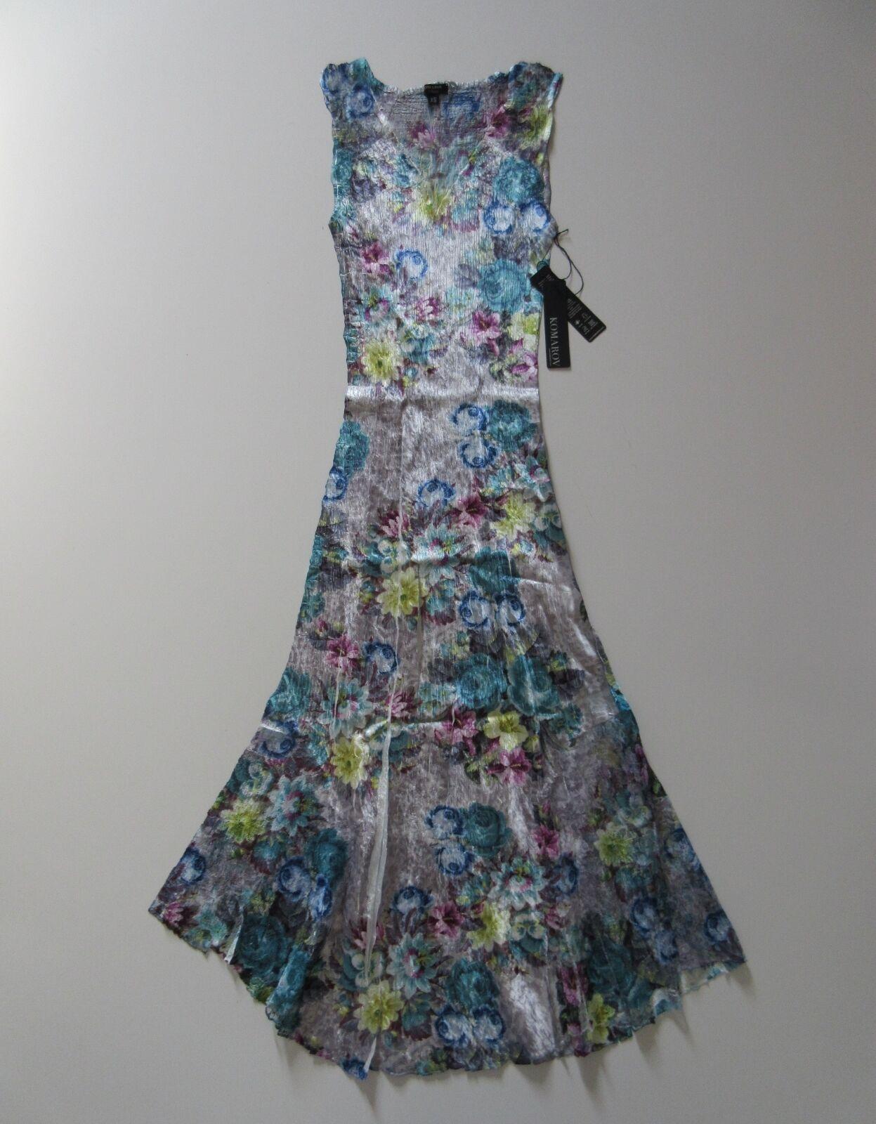 NWT KOMAROV lila Floral Lace Trimmed Crinkle Sleeveless V-Neck Dress XS