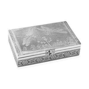 Aluminum Oxidized Dragonfly Pattern Storage Jewelry Box Anti Scratch Interior