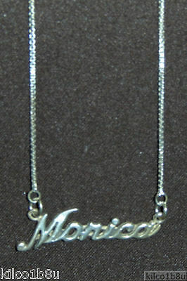 """.925 Sterling Silver Morgan Name Plate Charm Pendant Necklace FREE 17/"""" Chain"""