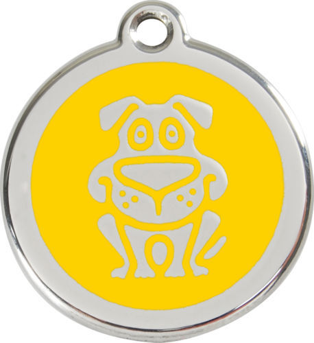 RED DINGO DOG ENAMEL//STAINLESS STEEL DOG//CAT ID TAG ALL COLOURS FREE ENGRAVING