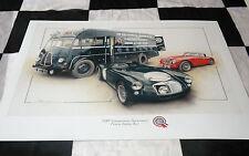 MG MGA AUSTIN HEALEY 3000 LE MANS & TRANSPORTER BUS 1955 NEW PAINTING PRINT ART