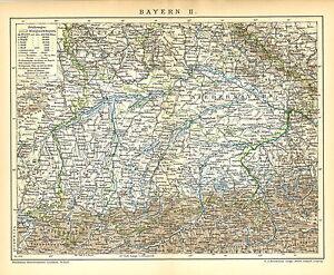 Alte Landkarte 1898 Bayern Ii Oberbayern Niederbayern Schwaben