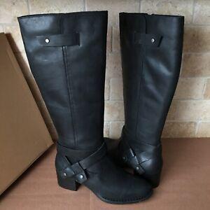 UGG Bandara Black Leather Stacked Heel