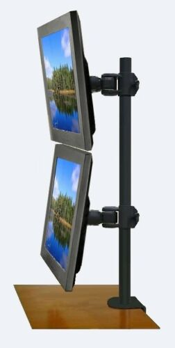"""002-0008 EZM Vertical Dual LCD Monitor Mount Stand Desktop Clamp Up To 27/"""""""