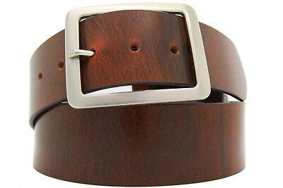 Intellective Vera Pelle Cintura Uomo Donna In Pelle Bufalo Marrone - 5cm-larga Circa 4mm Dick 2-mostra Il Titolo Originale Dolorante